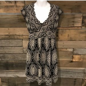 Black and white Art Deco sweater dress. Size small